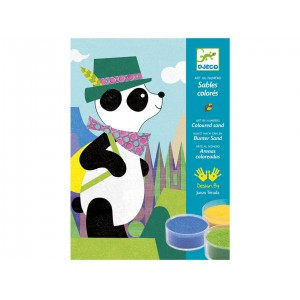 Djeco Arte al número Arenas coloreadas Panda y sus amigos