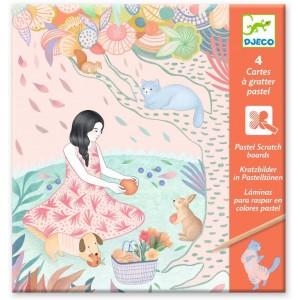 Djeco - Láminas para raspar en colores pastel