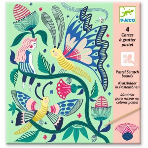 Djeco - Láminas para raspar en colores pastel - Jardín imaginario